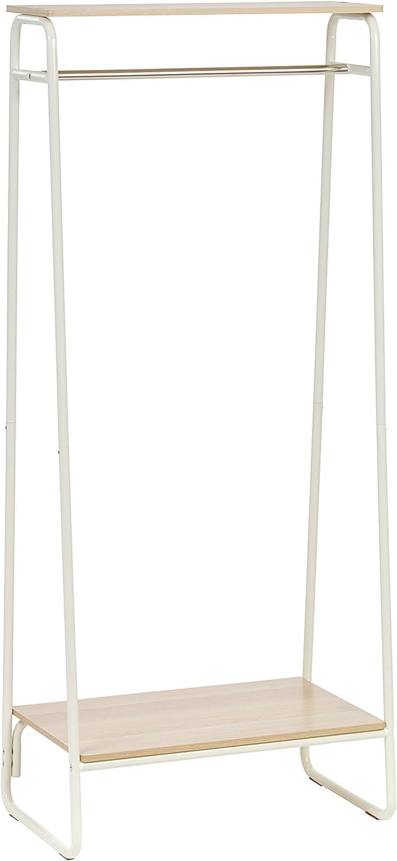 IRIS Metal Garment Rack with 2 Wood Shelves, White and Light Brown