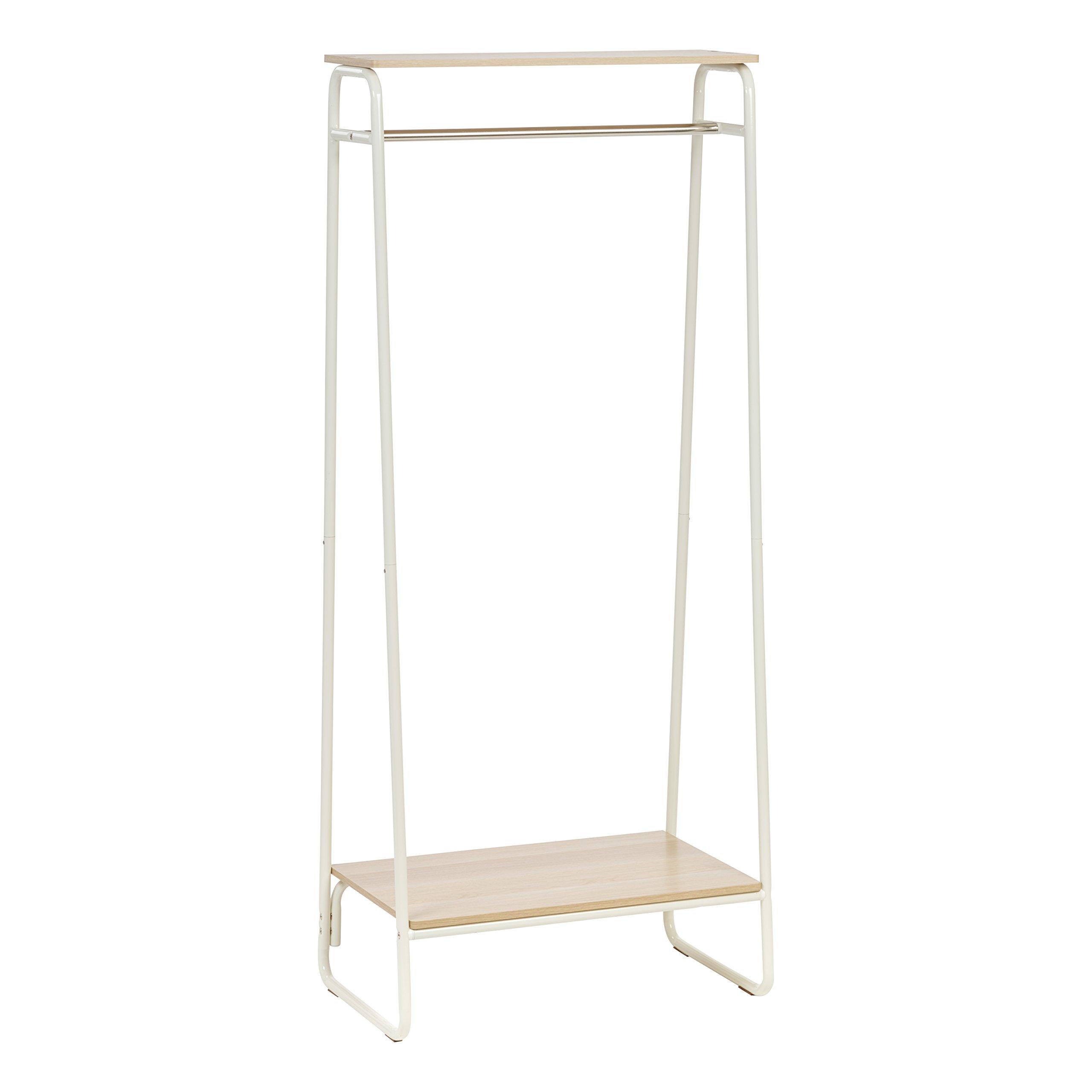 IRIS Metal Garment Rack with 2 Wood Shelves, White and Light Brown by IRIS USA, Inc. (Image #1)