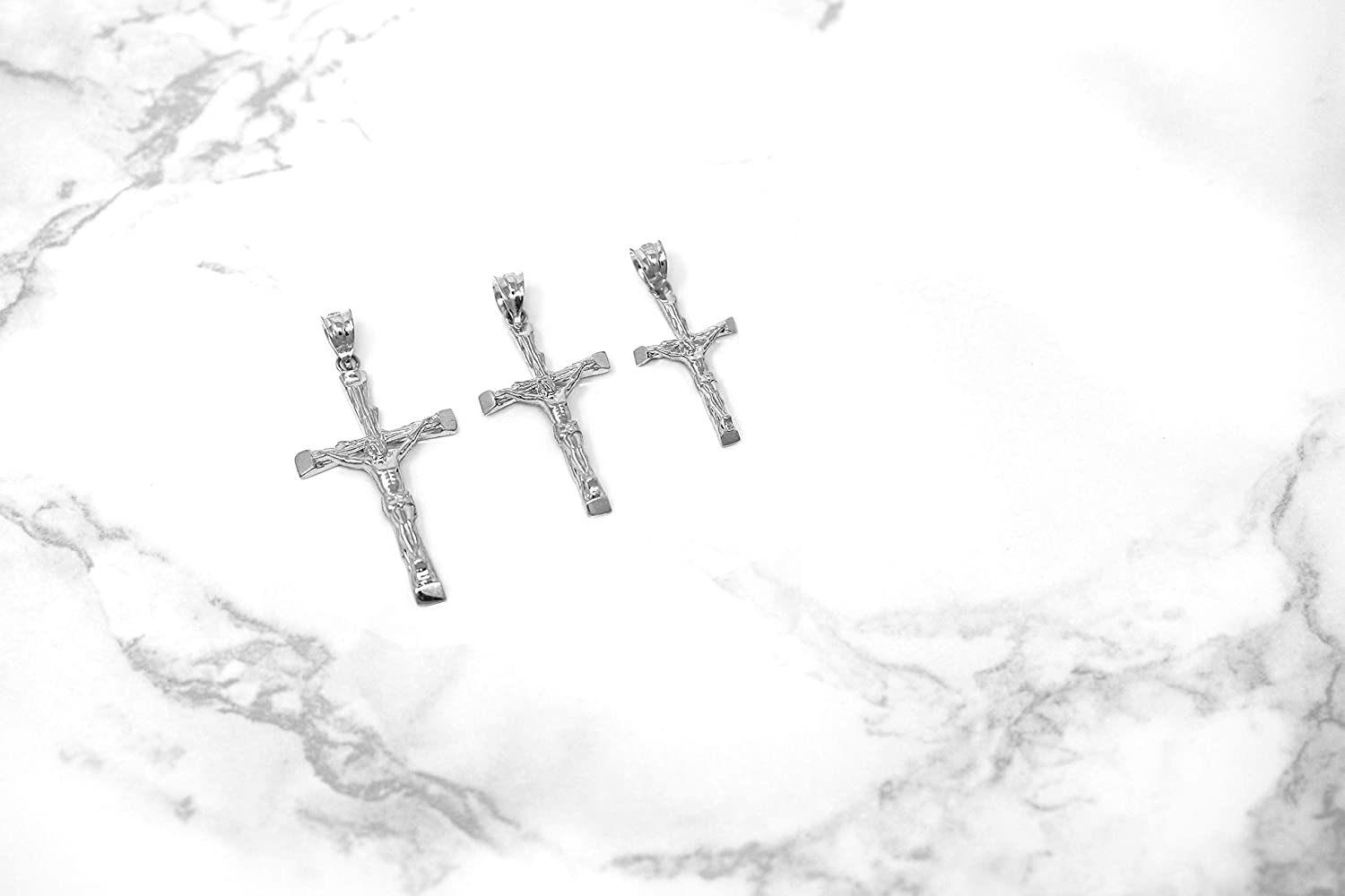 CaliRoseJewelry 14k White Gold Jesus on The Cross Crucifix Textured Pendant Necklace