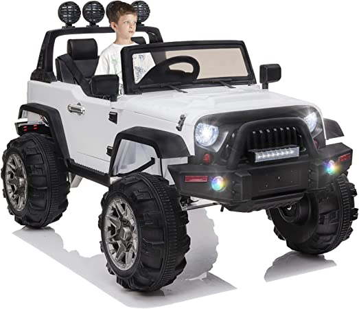 OTTARO Kids Electric Car Ride on Cars Trucks, Battery Powered Car for Kids,12V Motorized Vehicles w/ Parental Remote Control, LED Lights, MP3 Player,Safety Belt,Spring Suspension(White)
