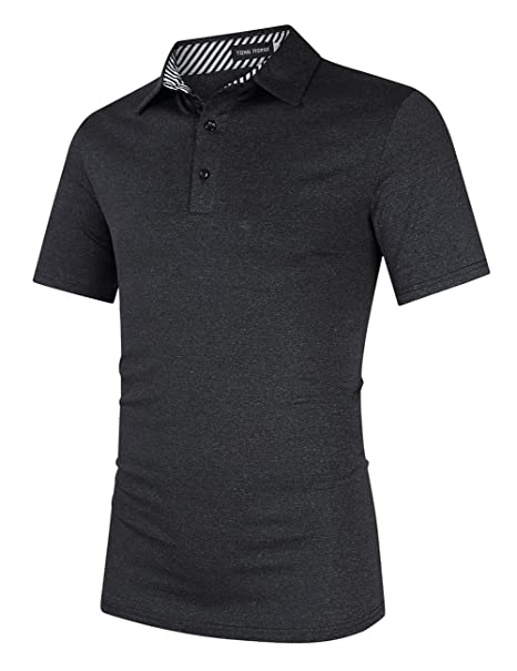 e5f212096 Yong Horse Men's Casual Dry Fit Classic Golf Polo Shirts 2 Button Athletic  Short Sleeve Striped