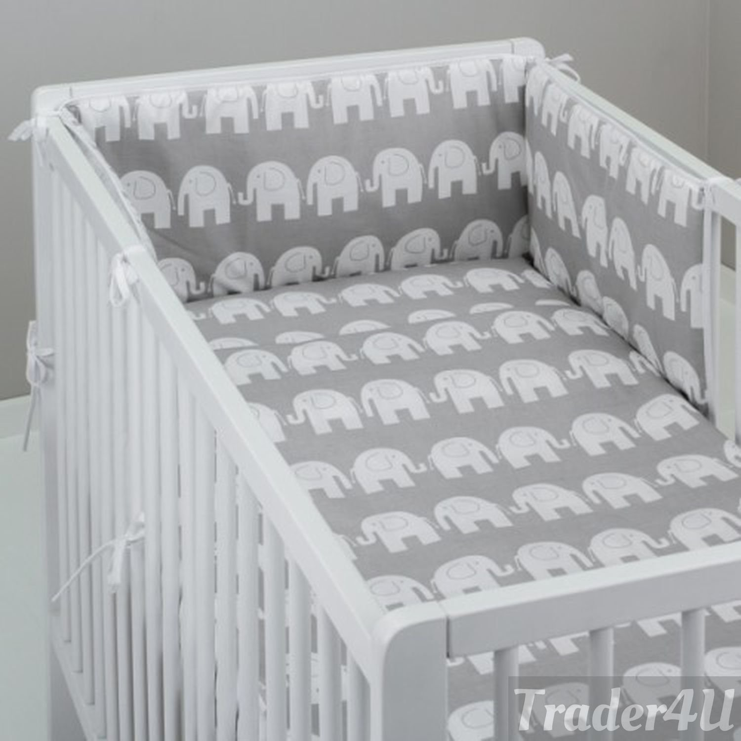 MillaLu 3 Pcs Baby Nursery Bedding Set fit to Cot 120x60cm or Cot Bed 140x70cm Padded Bumper Fit to Cot 120x60 cm, Grey Teddy on White