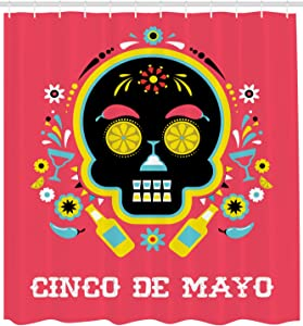 Lunarable Cinco de Mayo Shower Curtain, Dia de Los Muertos Theme Graphic Colorful Skull Image Margarita and Flowers, Cloth Fabric Bathroom Decor Set with Hooks, 105