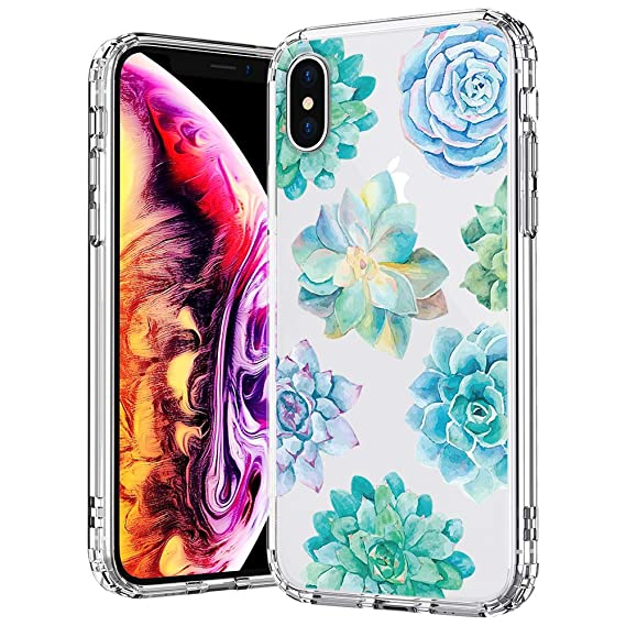san francisco 16a65 0e1eb MOSNOVO Case for iPhone Xs/iPhone X, Tropical Succulents Pattern Clear  Design Transparent Printed Plastic Hard with TPU Bumper Protective Cover  for ...