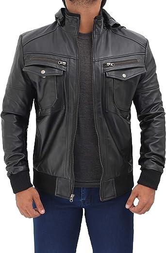 Real Leather Jacket for Men Bomber Biker Distressed Hooded Cafe Racer Detachable