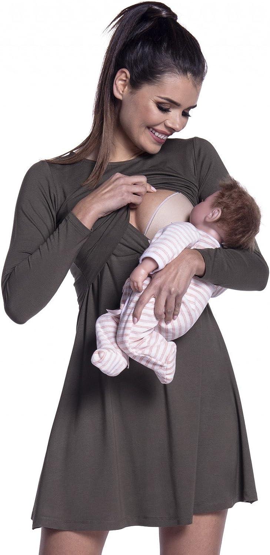 Zeta Ville - Premamá Vestido de Lactancia Efecto 2 en 1 Capa - para Mujer - 128c