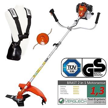 Desbrozadora y cortacésped 2 en 1 BRAST 3.0 CV de gasolina, 52 cm³, certificado TÜV.: Amazon.es: Bricolaje y herramientas