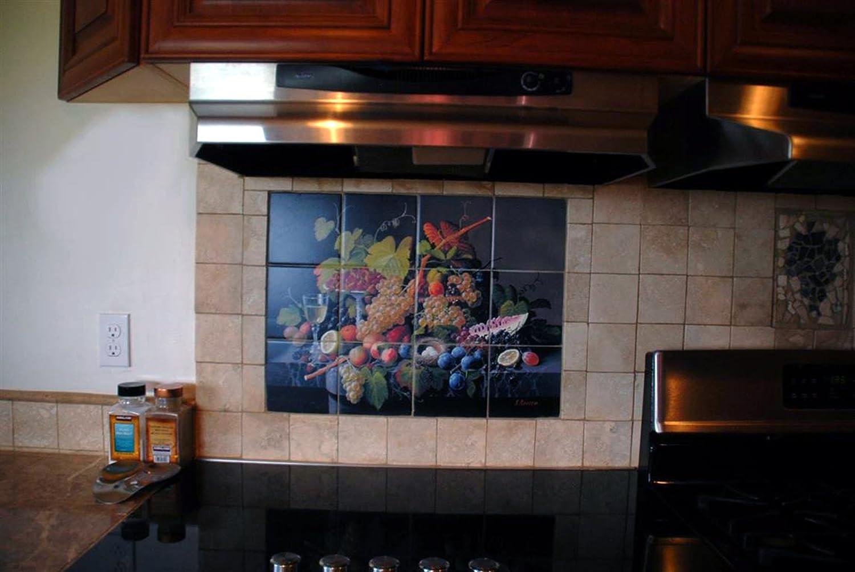 Mural de Azulejos aún vida frutas y copa de vino por Severin Roesen cocina baño ducha pared backsplash) 6 x 5 4,25
