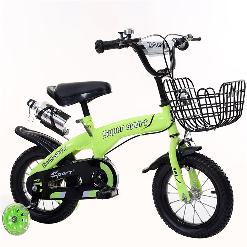 子供の自転車12|14|16|18インチ屋外の子供赤ちゃんキッドマウンテンバイクフラッシュトレーニングホイールで3-9歳の男の子の女の子のギフト|アイアンバスケット|ウォーターボトルセーフ B078GWDV23緑 12インチ