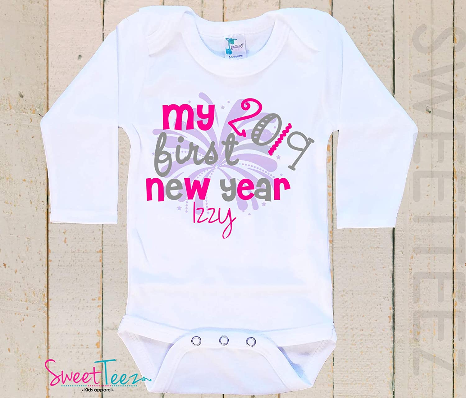 My first New Year's Baby Bodysuit Baby Girl Boy Personalized with Name and Year Gift 2018