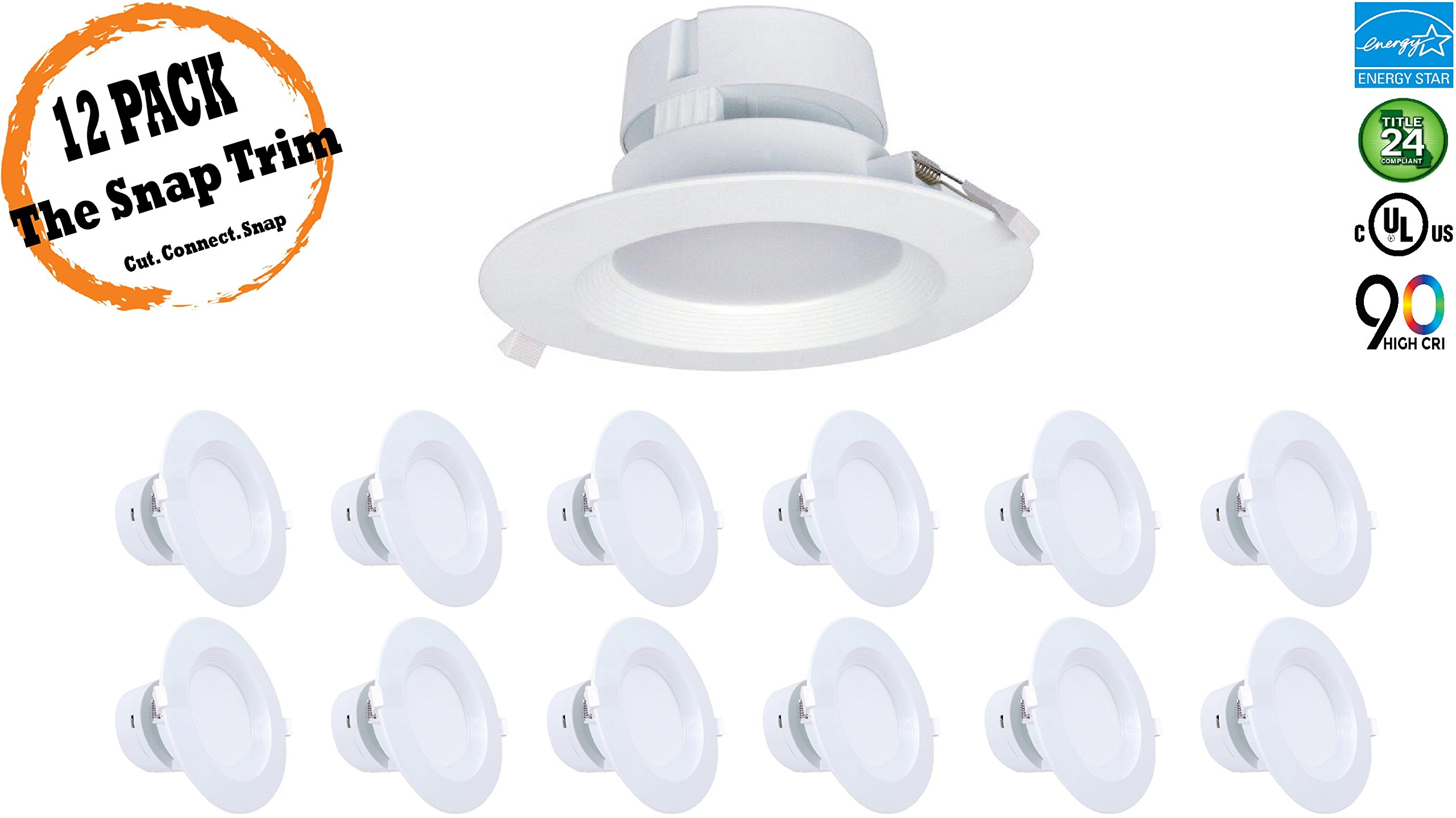 6'' Inch J-Box Canless LED Downlight 9W=(65/75W Equivalent) 40,000 Life Hours; Dimmable to 5%; Wet Location Rated; 700 Lumens; 120V; CRI>90; 5 Year Warranty; Cool White 4000K- (12 PACK)