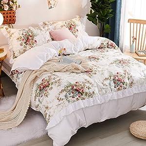 FADFAY Girls Floral Bedding Premium 100% Cotton Shabby Vintage Rose Print Elegant Ruffled Lace Bedding 3 Piece:1 Zipper Duvet Cover(No Comforter), 2 Pillowshams (White/Floral, Twin XL)