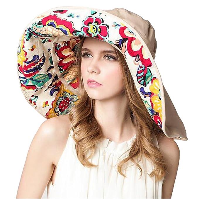 05e4dd0f9dd Roffatide Women s Multiuse Dual Large Brim Beach Sun Hat Bucket Visor Cap  UPF 50+ Beige