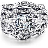 ZHENYUL Women's Gorgeous Wedding Ring 3 Piece Sets Engagement Bridal Band 18K White Gold Plated Cubic Zirconia