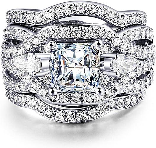 Amazon Com Wisslotus Women 3 Pcs Vintage Wedding Engagement Rings