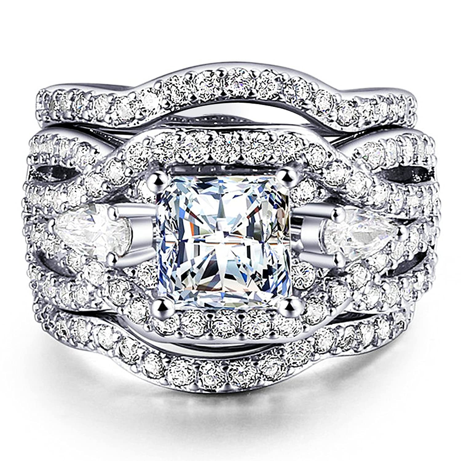 Amazon FENDINA Women 3 PCS Vintage 18K White Gold Plated