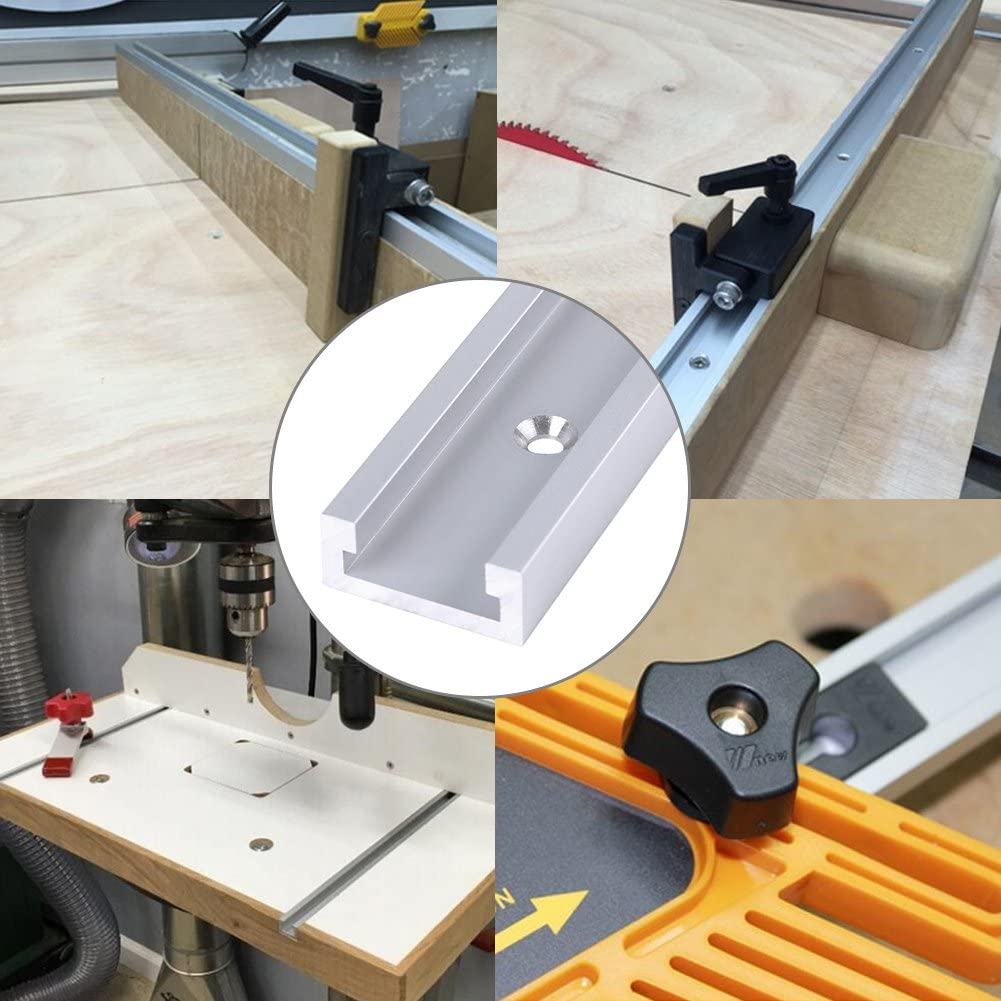 Akozon T-Slot Track,400mm Aluminum Alloy T-Track T-Slot Track with Self-taping Screws for Woodworking