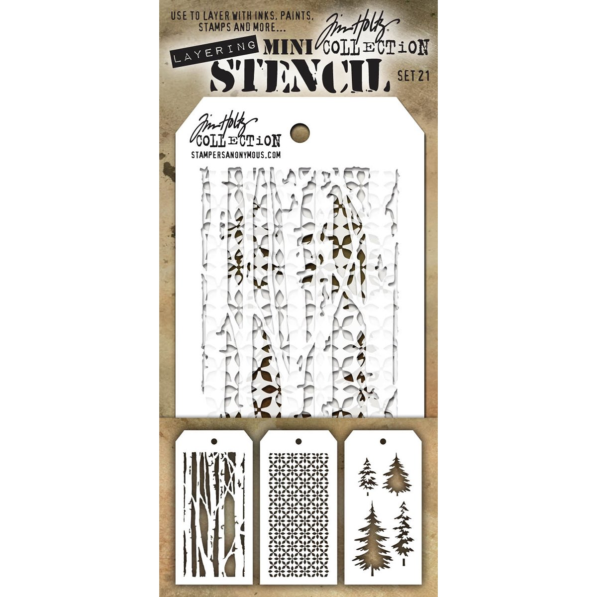 Stampers Anonymous MTS021 Tim Holtz mini Layered stencil set,, confezione da 3 Art Gone Wild MST021