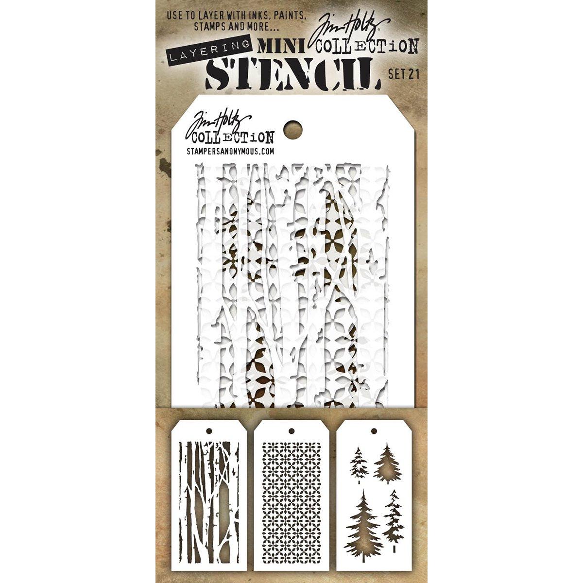 Stampers Anonymous MTS021Tim Holtz mini Layered stencil set,, confezione da 3 Art Gone Wild MST021