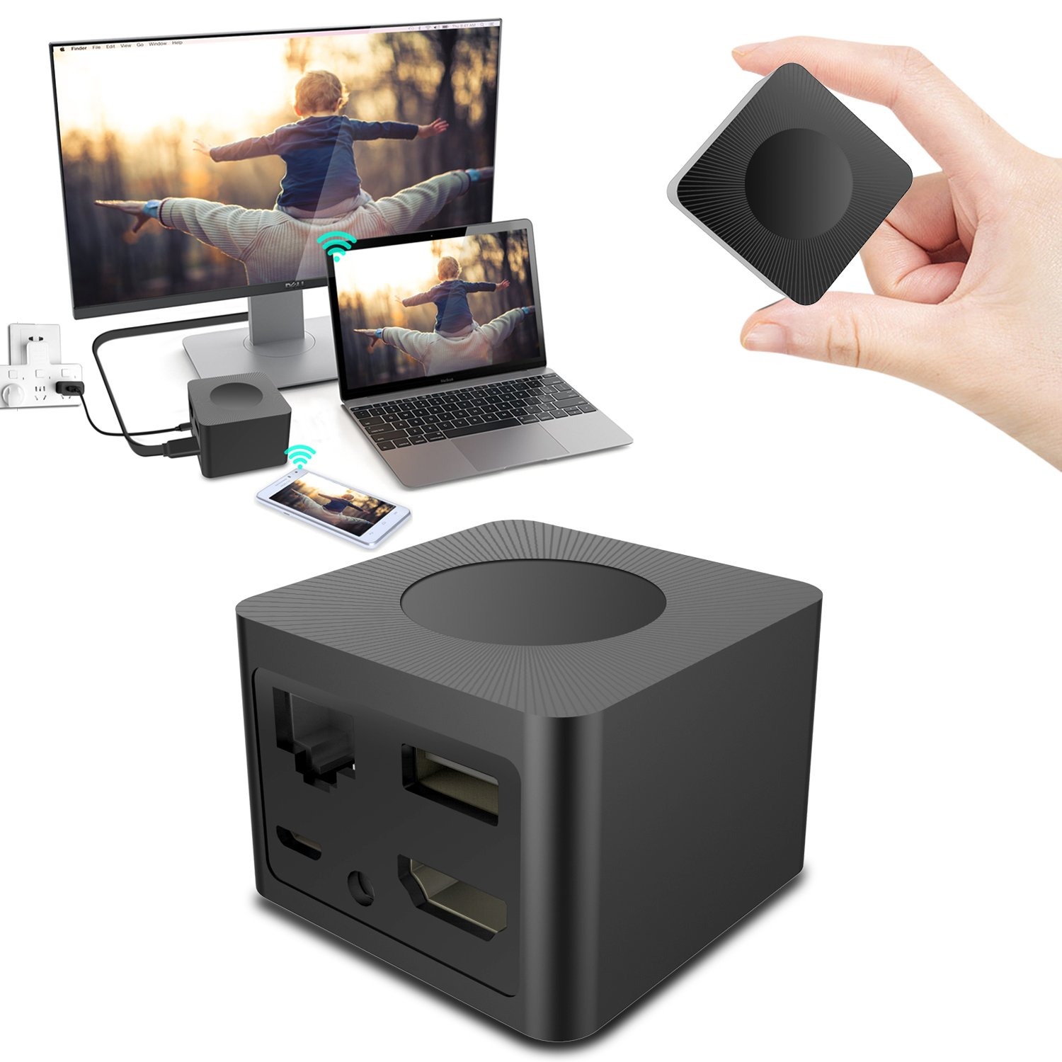 WiFi Wireless Mini Display Receiver Dongle, Venoro 1080P Full HD + AV Dual Output Adapter Support Airplay Miracast DLNA for IOS / Android / Windows / Mac