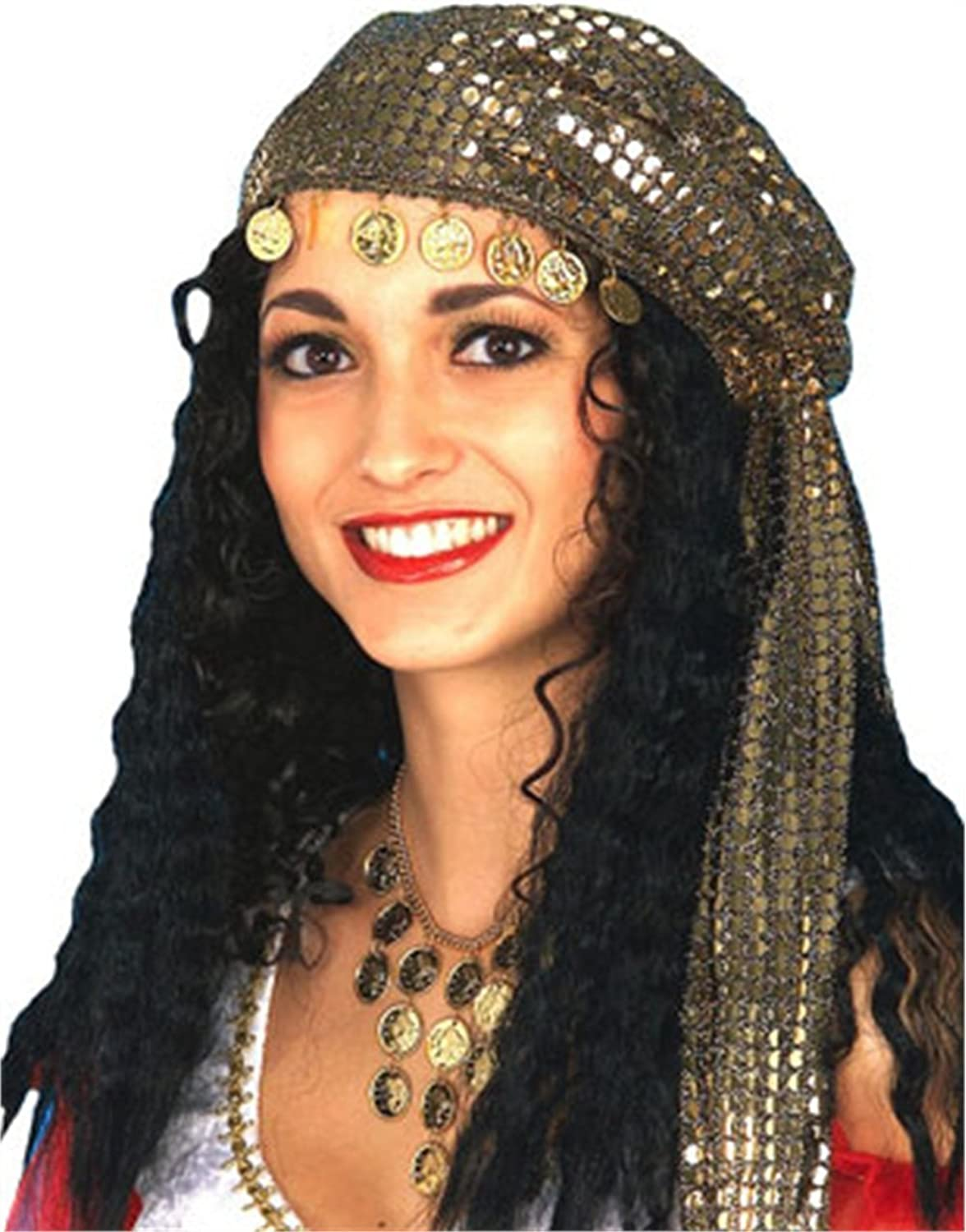 Gypsy Wig with Scarf Kerchief Coins Costume Glitter Hat