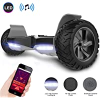 GeekMe Hoverboard All Terrain Self Balancing Scooter With Powerful Motor LED Lights Bluetooth APP for Adults and kids 8.5'' inch