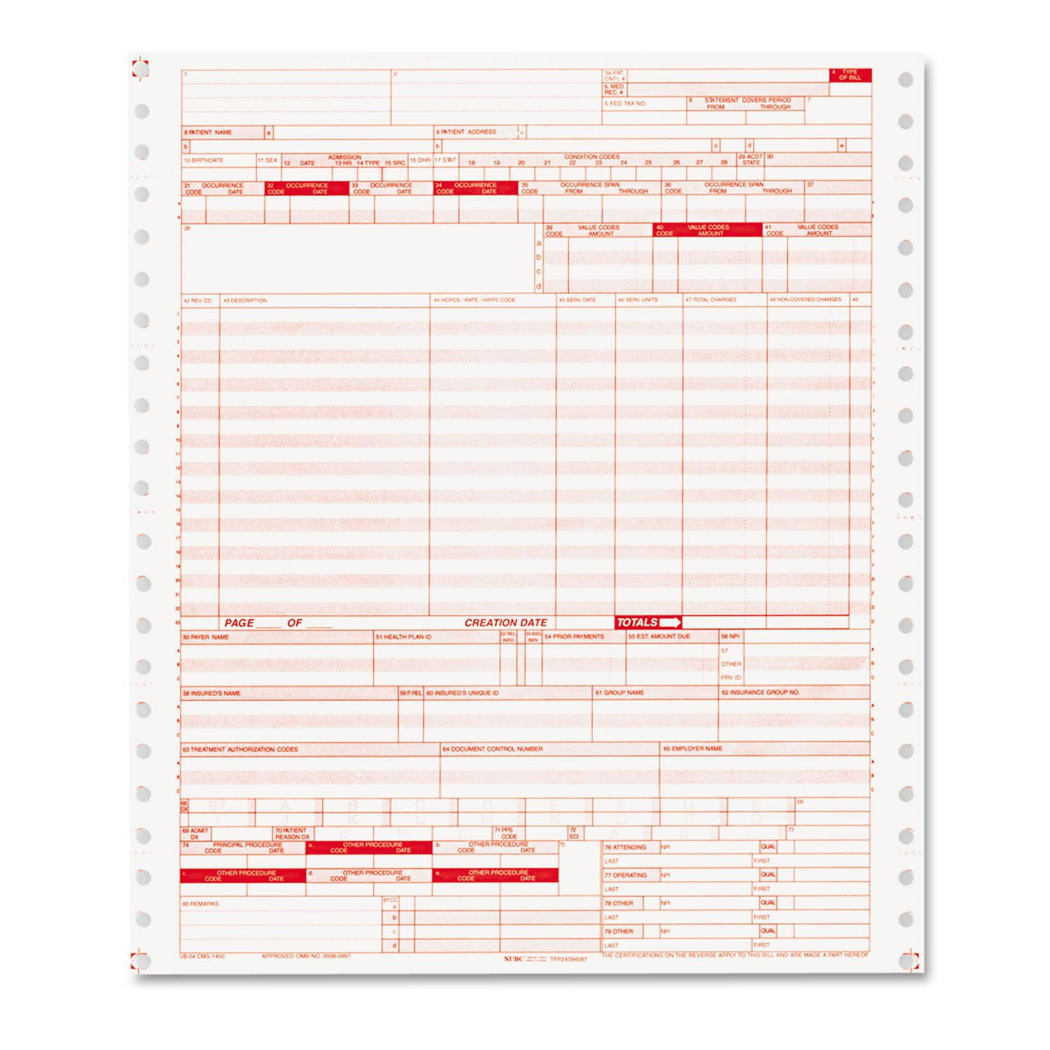 Ub04 Claim Forms, 2 Part Continuous White/canary, 9 1/2 X 11, 1000 Forms