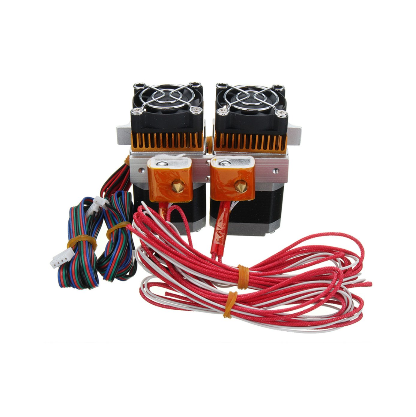 12v MK8 Dual Head Extruder with Sensor Hotend 0.4mm Nozzle for Makerbot RepRap 3D Printer 1.75mm Filament
