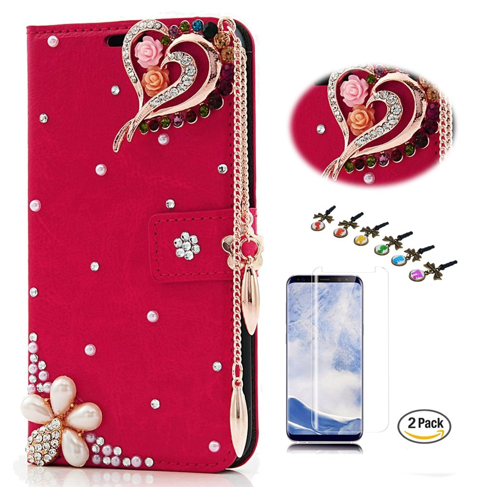 STENES Galaxy S8 Active Case - STYLISH - 3D Handmade Crystal Rose Heart Pendant Flowers Wallet Credit Card Slots Fold Media Stand Leather Cover For Samsung Galaxy S8 Active With Screen Protector - Red