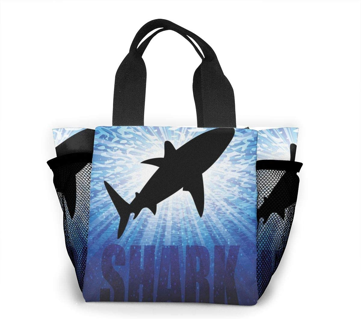 Qbahoe Shopping Bags Camo Camouflage Shark Underwater Hunter Lunch Bag Gourmet Lunchbox Insulated Portable Carry Tote Handbag For Travel Shopping School Work Picnic