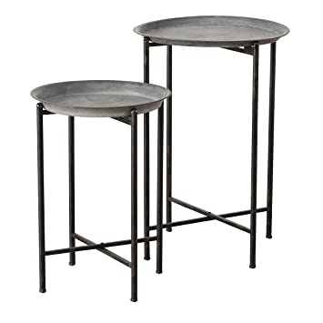 WHW Whole House Worlds Farmers Market Plant Stand Tables, Set of 2, Round  Tops, Slim Line Base, Rustic Gray, Iron, for Indoor and Outdoor Use, 24 3/4  ...
