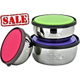 Stainless Steel Food Storage Containers with lids Metal lunch containers bento BPA Free Nontoxic Dishwasher Safe Eco Friendly resistant 3 color set 4.7-5.5 - 6.3 INC BONUS : 2 Bag Seal Sticks 4.7 IN