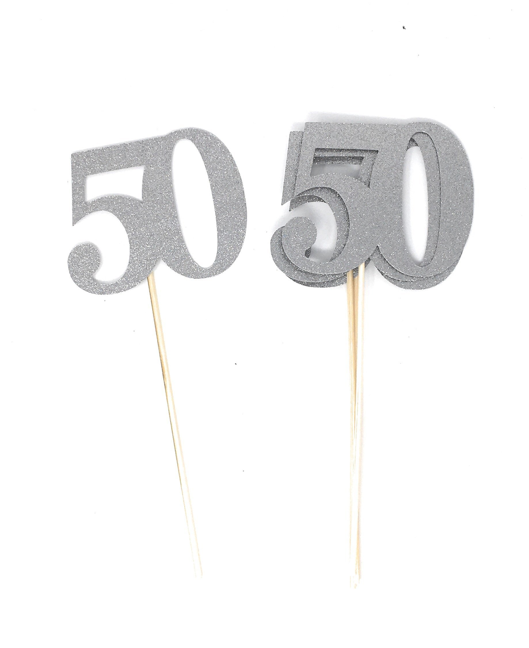 Set of 8 Number 50 Centerpiece Sticks for Silver Anniversary Reunion 50th Birthday (Silver)