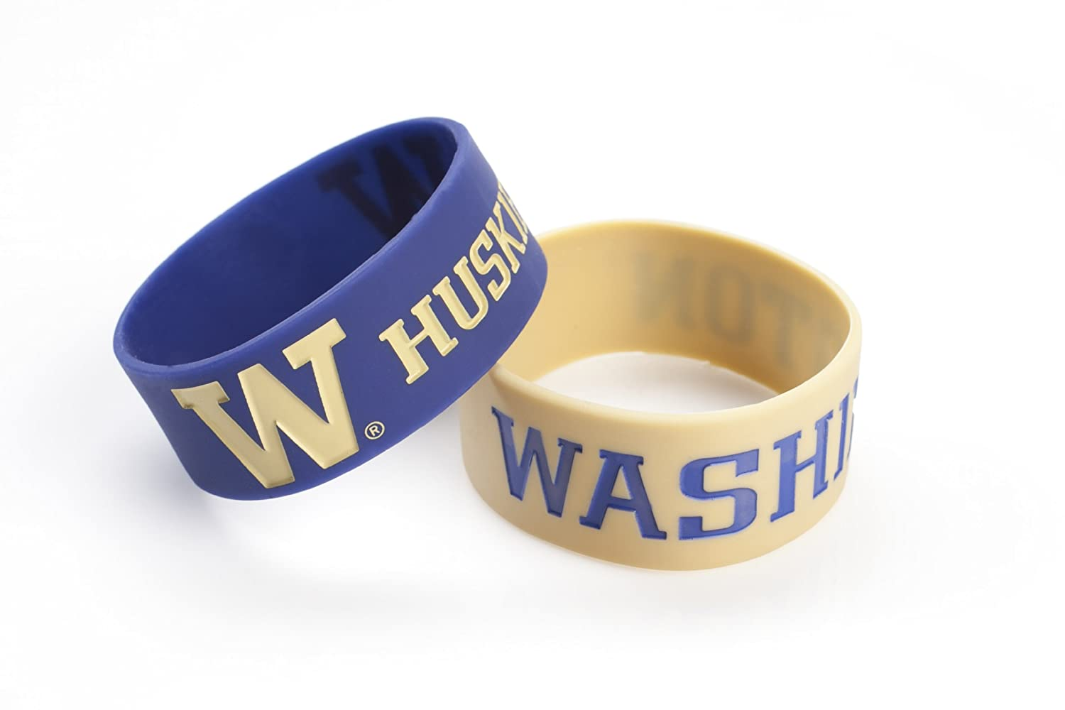 NCAA Washington Huskies Silicone Rubber Bracelet 2 Pack