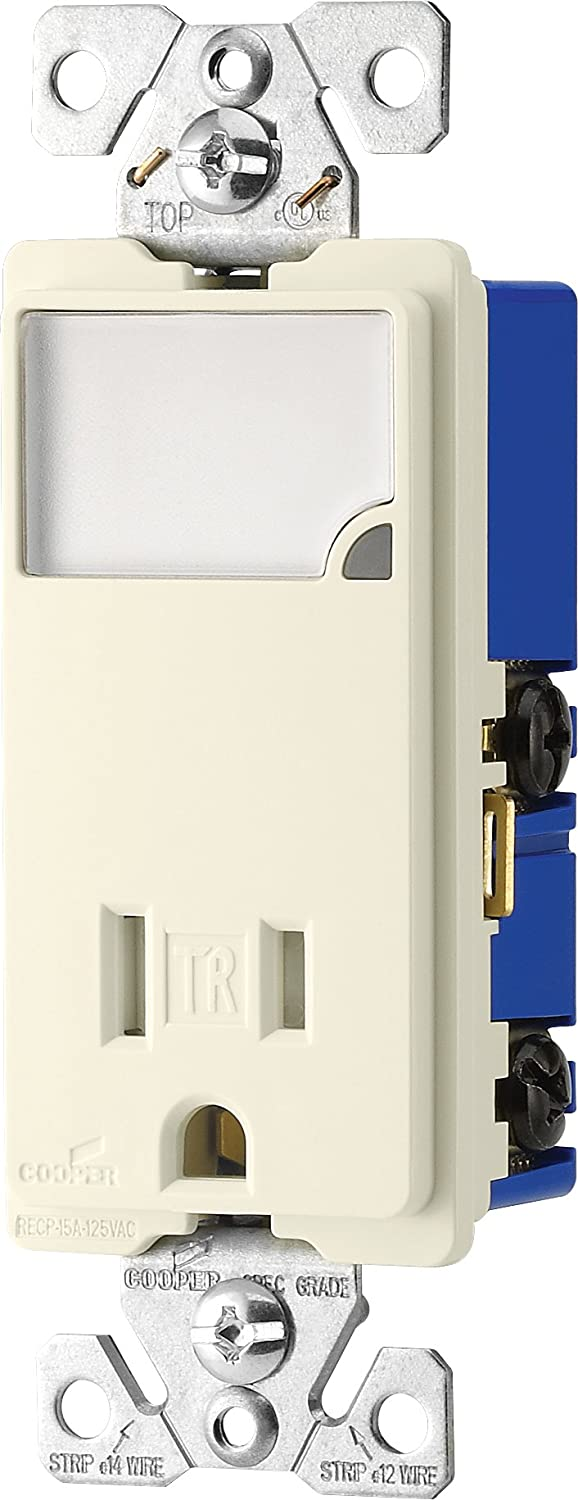 Cooper Wiring Devices TR7735W-BOX 3-Wire Receptacle Combo Nightlight with Tamper Resistant 2-Pole, White
