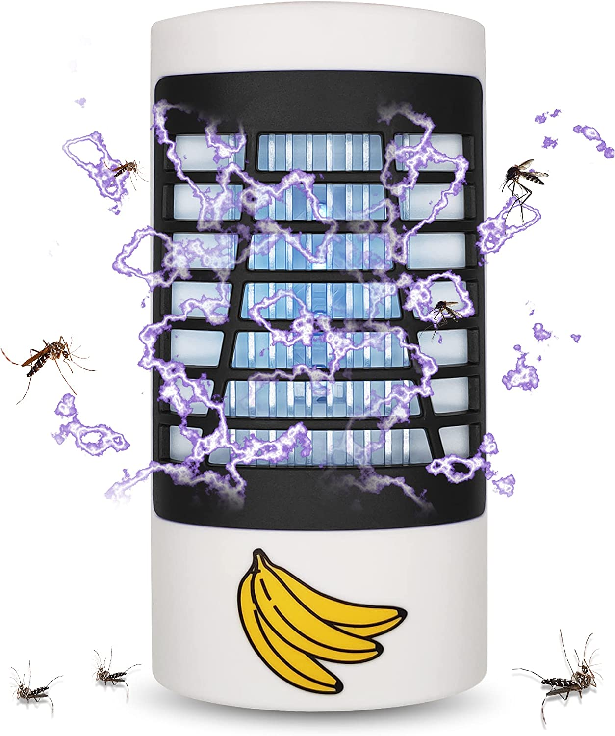 Bug Zapper Indoor, Electronic Fly Zapper Lamp for Home, Eliminates Gnats Fruit Flies Flying Pests - Non-Toxic - Silent - Effective Operation UV Insect Killer (Black)