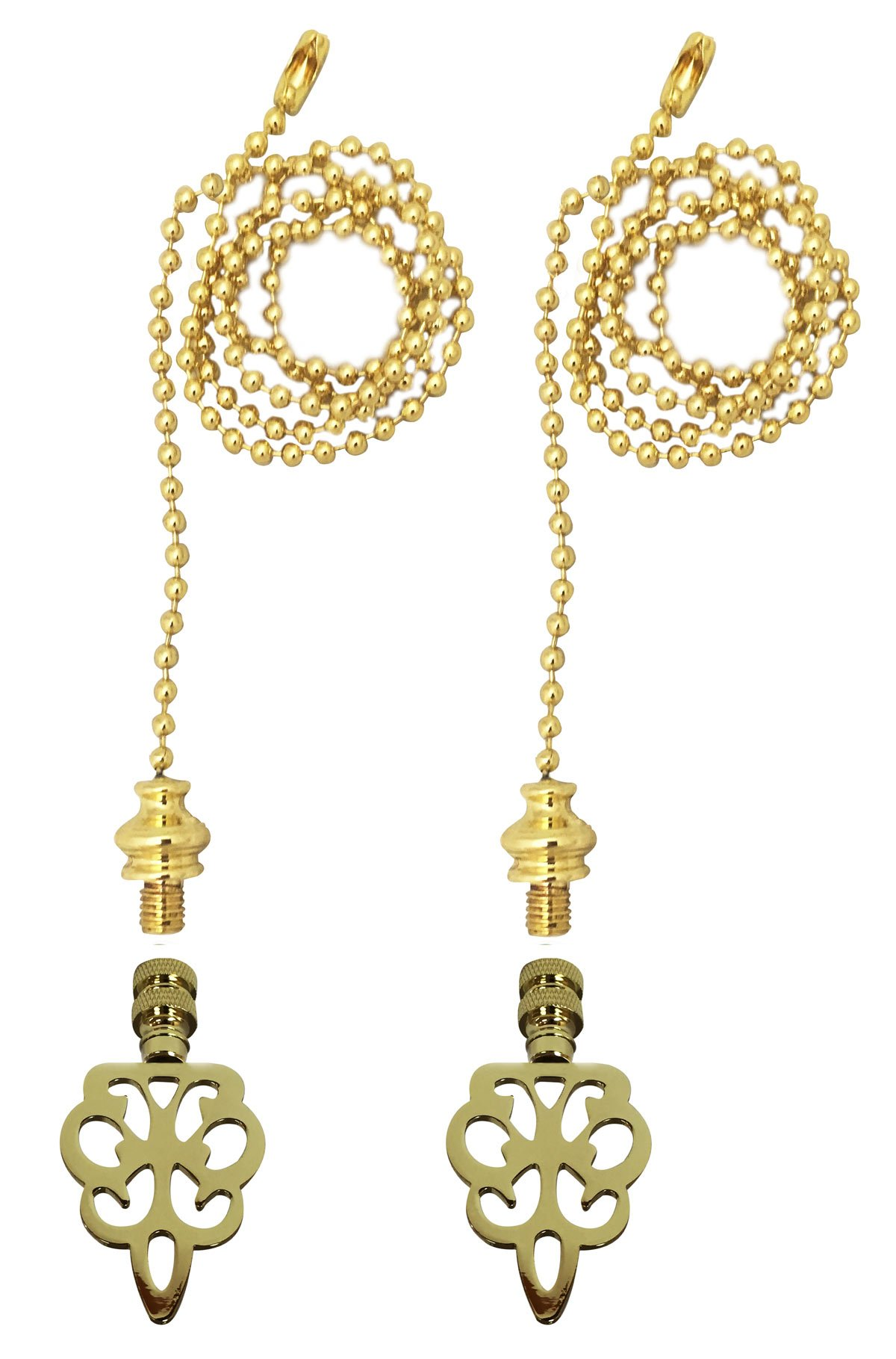 Royal Designs Fan Pull Chain with Open Filigree Motif Finial - Polished Brass - Set of 2