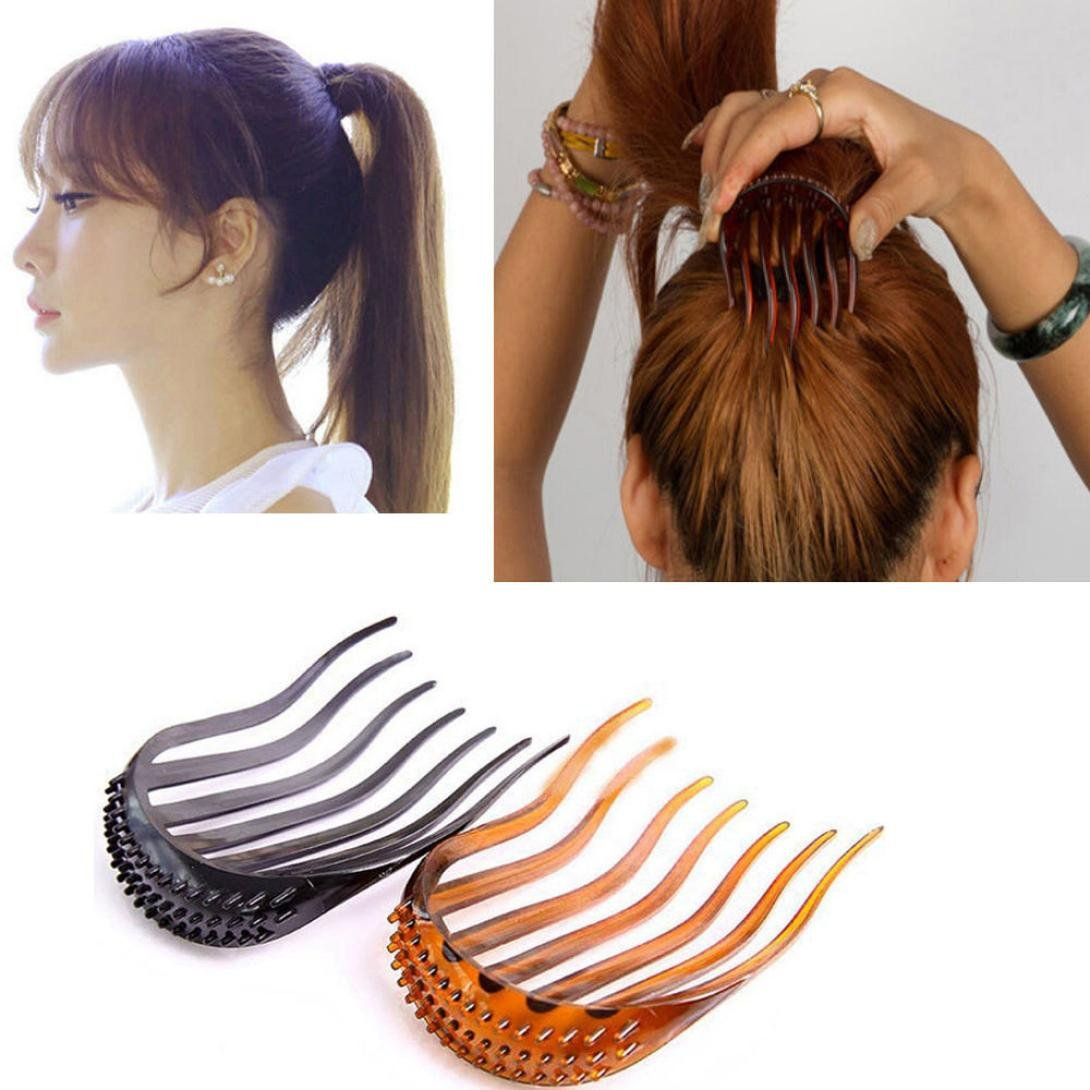 DZT1968 Women's Fashion Hair Styling Clip Comb Stick Bun Maker Braid Tool Hair Accessories 8x6.5cm (Black)