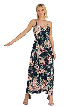 0433345f76f4 Chilsuessy Damen Boho Maxikleid V Ausschnitt Kleid Damen Träger Kleider  Sommerkleider Strandkleider Urlaub Langes Ärmellos Blumen