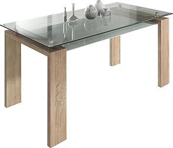 design verre salle Table pieds de en cm sonoma manger à 160 vwnO80mN