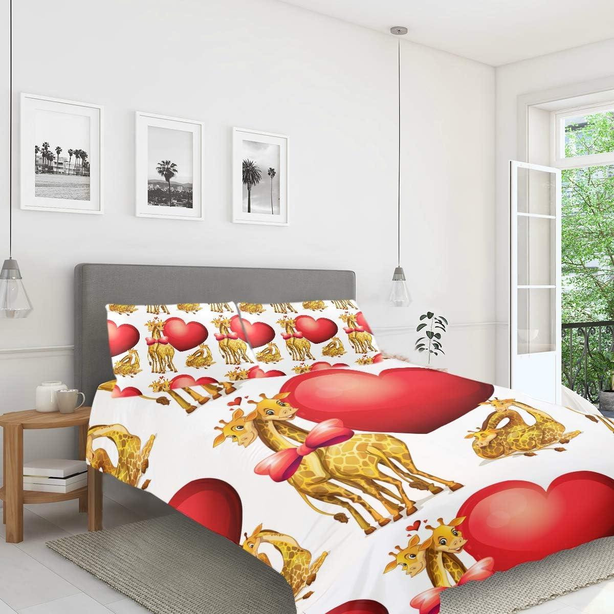 Amazon Com Fcz 3 Pieces Kids Peach Skin Velvet Duvet Cover Set Giraffes With Giant Hearts Bedding Sets For Girls Boys Children Teens Twin Home Kitchen