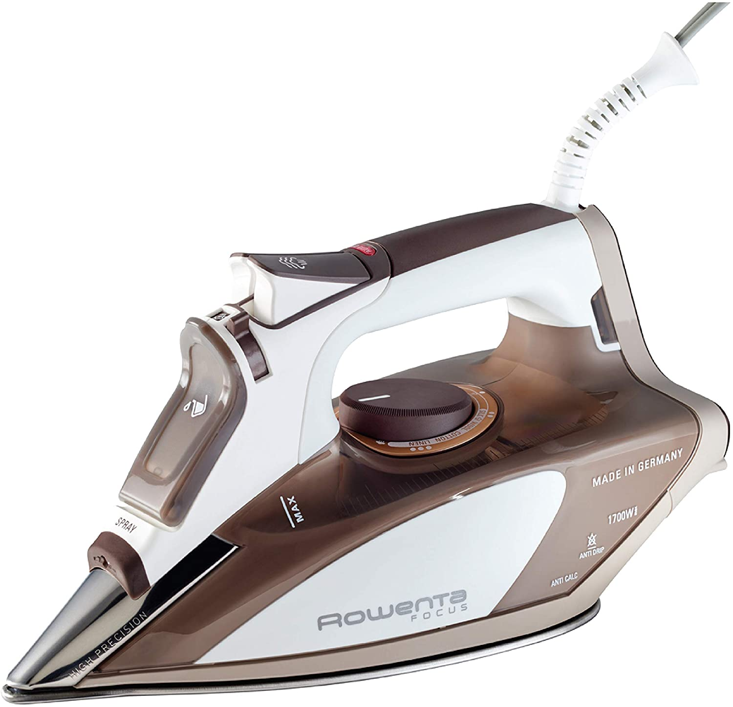 Rowenta DW5080 1700-Watt Micro Steam Iron Stainless Steel Soleplate with Auto-Off, 400-Hole, Brown Image
