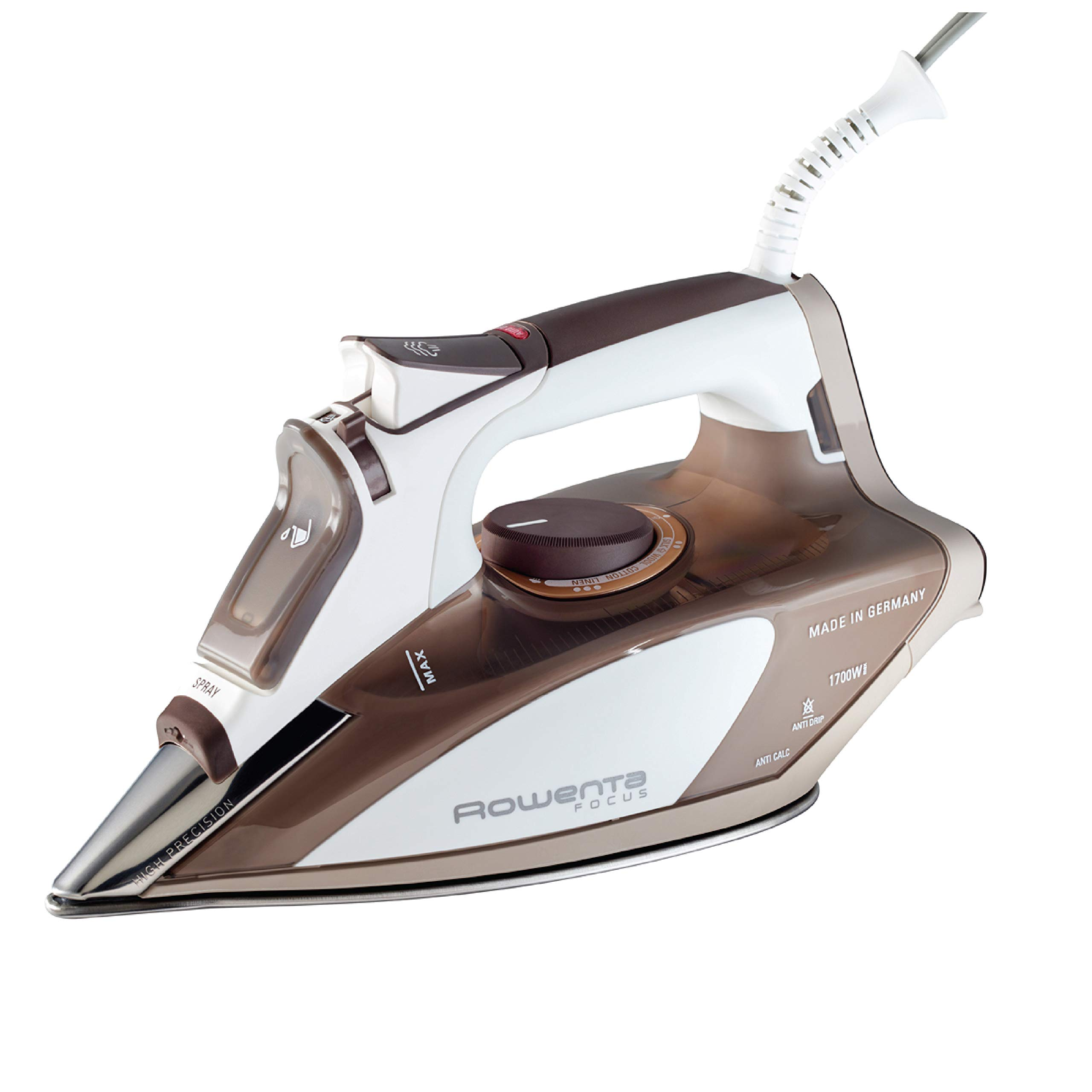 Rowenta DW5080 1700-Watt Micro Steam Iron Stainless Steel Soleplate with Auto-Off, 400-Hole, Brown by Rowenta