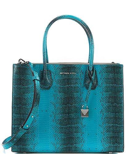 dfb427be6f02e2 Amazon.com: Michael Kors Studio Mercer Snake Medium Large Convertible Tote  Tile Blue Leather Bag: Shoes
