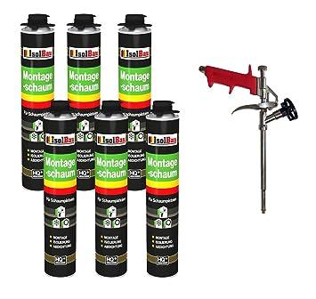 Lot de 6 x 750 ml de mousse polyuréthane monocomposante de construction/montage pour pistolet + 1 pistolet à mousse