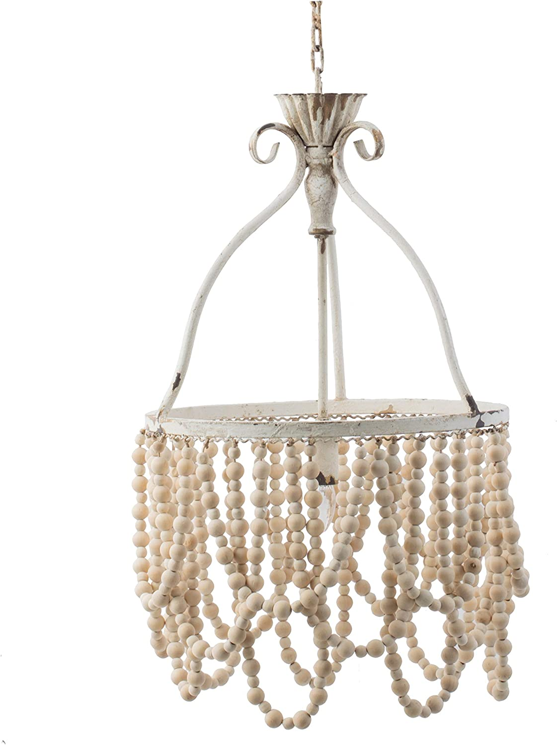 A&B Home White Beaded Chandelier, Dimensions: 14.2L x 14.2W x 25.6H Inches