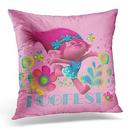 Amazon VANMI Throw Pillow Cover Pink Troll Poppy Hugfest Delectable Princess Decorative Pillows