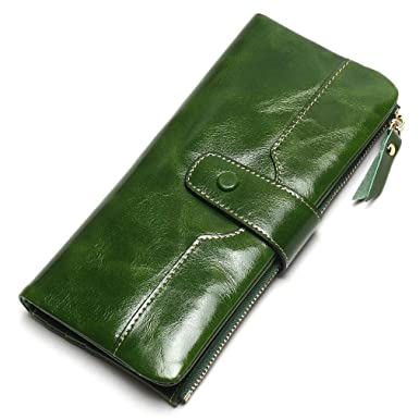 Image Unavailable. Image not available for. Color  100% Leather Women Phone  Wallet Long Purse Lady ... fd07e5605144