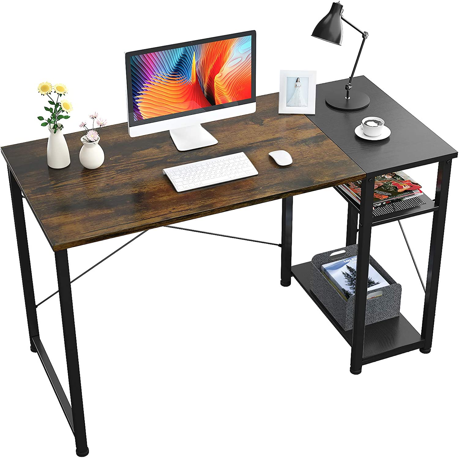 Foxemart Home Office Computer Desk, 47 inch Sturdy Writing Desk with 2-Tier Storage Shelves, Modern Simple Style PC Desk, for Home, Office, Study Room, Bedroom, (Vintage Oak Finish)