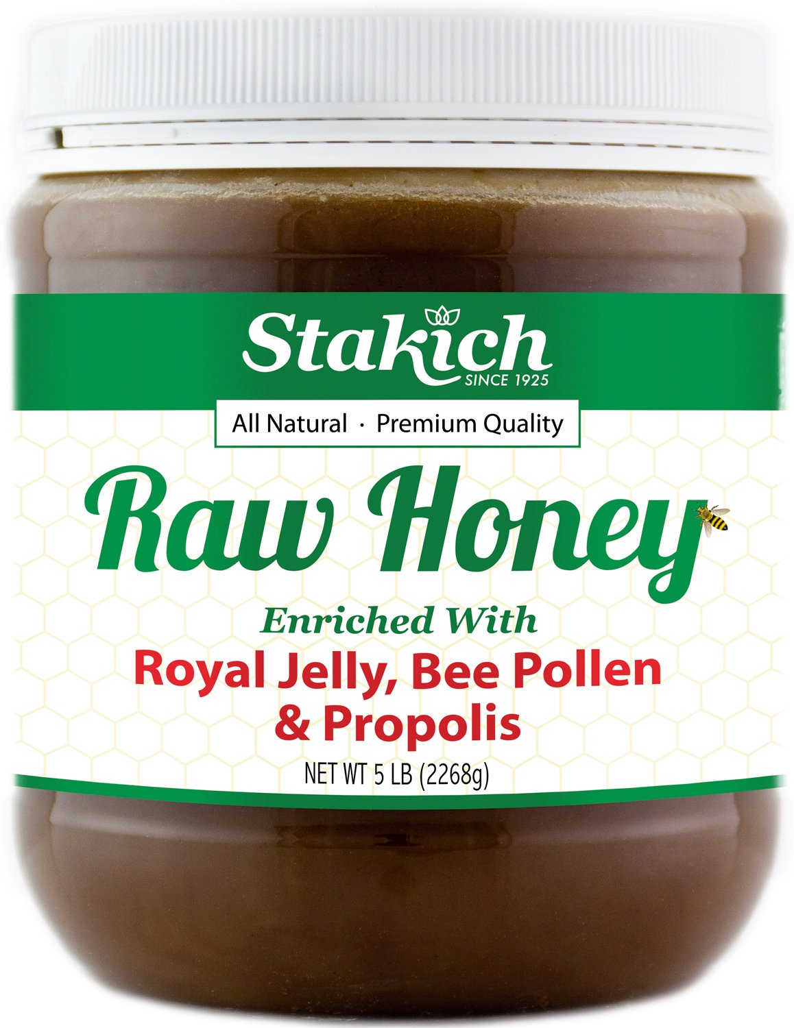 Stakich ROYAL JELLY BEE POLLEN PROPOLIS Enriched RAW HONEY - 100% Pure, Unprocessed, Unheated - 5 lb (80 oz)